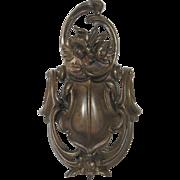 Substantial Antique French Spelter Door Knocker - Floral Acanthus Decor