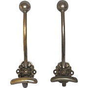 Pair of Vintage French Metal Hat and Coat Hooks