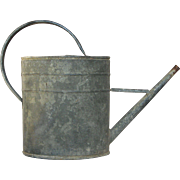 Vintage Weathered Zinc French Watering Pail -Watering Can