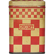 French Chicory Storage Tin - Red Checkerboard