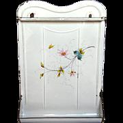 Hand-Painted Flowers & Butterfly Enamel Graniteware French Utensil Rack