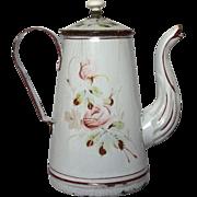 1800s French Floral Enamel Coffee Pot