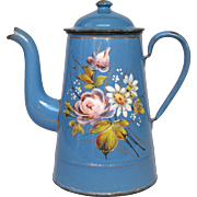 French Enamelware Hand-Painted Floral Graniteware Coffee Pot