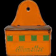 Rare Orange & Green French Enamel Graniteware Match Box
