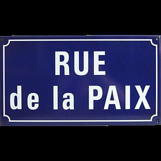"""French Enameled Street Sign - """"Rue de la Paix"""" -  Peace Street"""