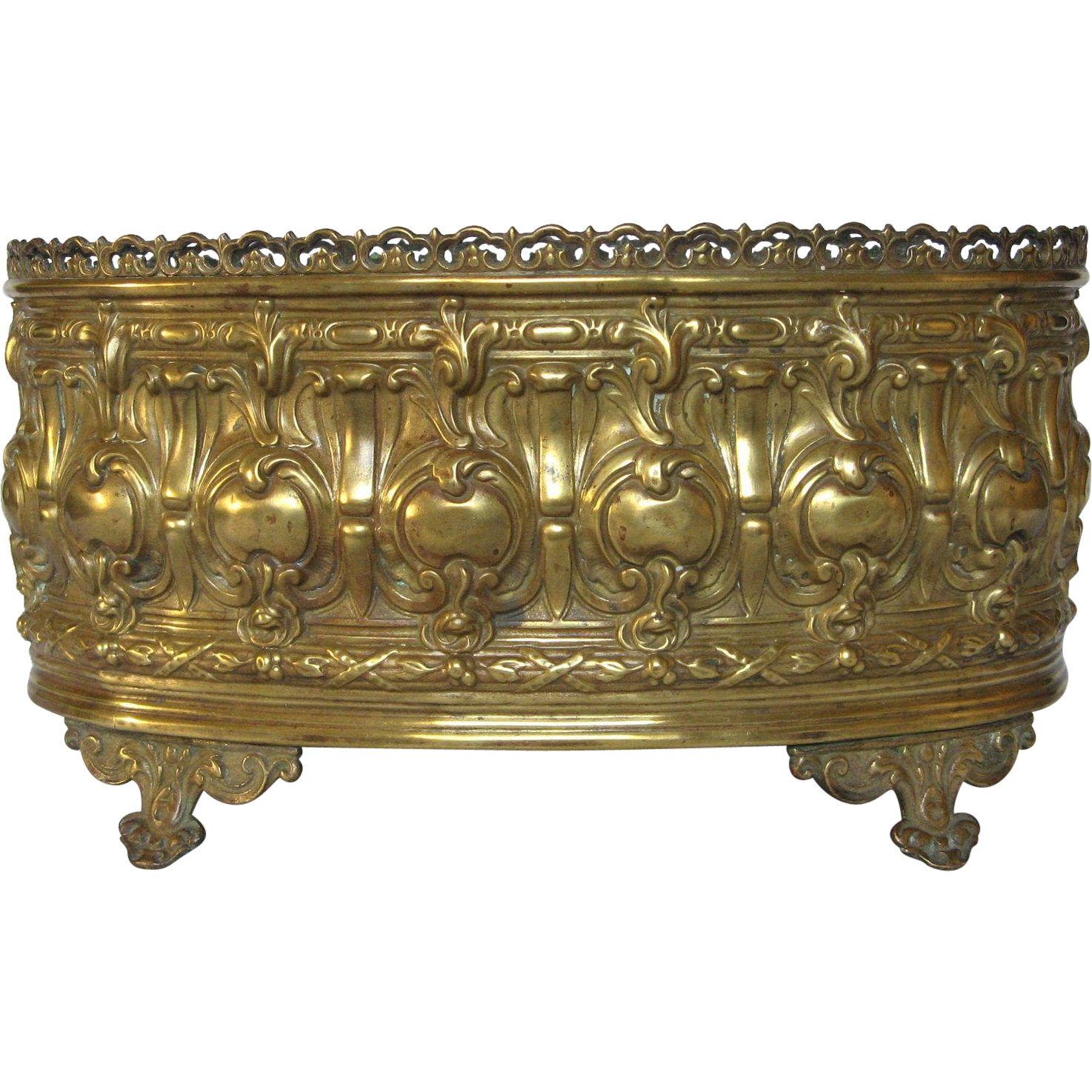 19 c french brass repousse planter jardiniere from. Black Bedroom Furniture Sets. Home Design Ideas