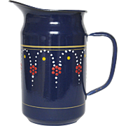 Rich Blue Enamel Hand-Painted French Graniteware Pitcher