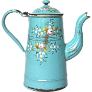 """""""Tiffany"""" Turquoise Blue Enamel Hand-painted Floral French Graniteware Coffee Pot"""