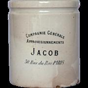 RARE French Jam Crock - JACOB - Paris