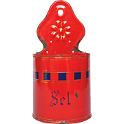 Vibrant Red Enamel French Salt Holder - Cobalt Blue Check Design