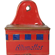 French Enamel Match Box Holder - Rare Red and Blue Design