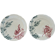 Pair of French Porcelain LONGWY Bi-Colored Transferware Plates - late 1800s