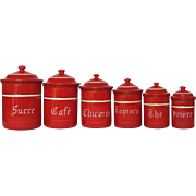 Complete Set of French Red Enameled Graniteware Canisters