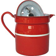 Very Vintage Fire-Engine RED Enamel French Milk Pot - Milk Warmer