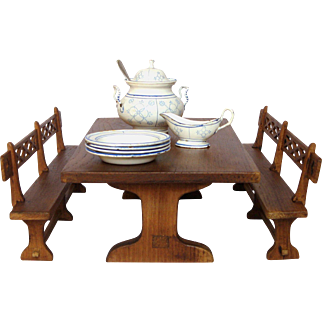 Vintage French Doll Sized Farm Table with Two Benches