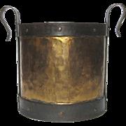 Hand-Hammered French Antique Brass Pot : Bucket