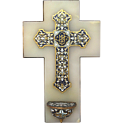 French Enamel Champleye Cross with Holy Water Font - Stoup - 19th C