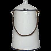 White Enamel French Graniteware Milk Pot