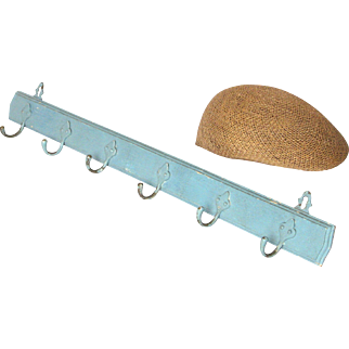 French Chippy-Paint Wooden Coat Hook Rack with Six Hooks