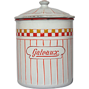 "Exceptionally RARE French ""GATEAUX"" -Enamel Graniteware Canister"