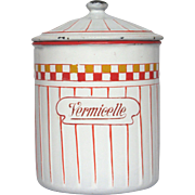 Uncommon French Enamel VERMICELLE Graniteware Canister