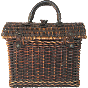 Early Woven French Market / Picnic Basket - Child Size