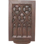 French Dark Wood Gothic Carved Shelf