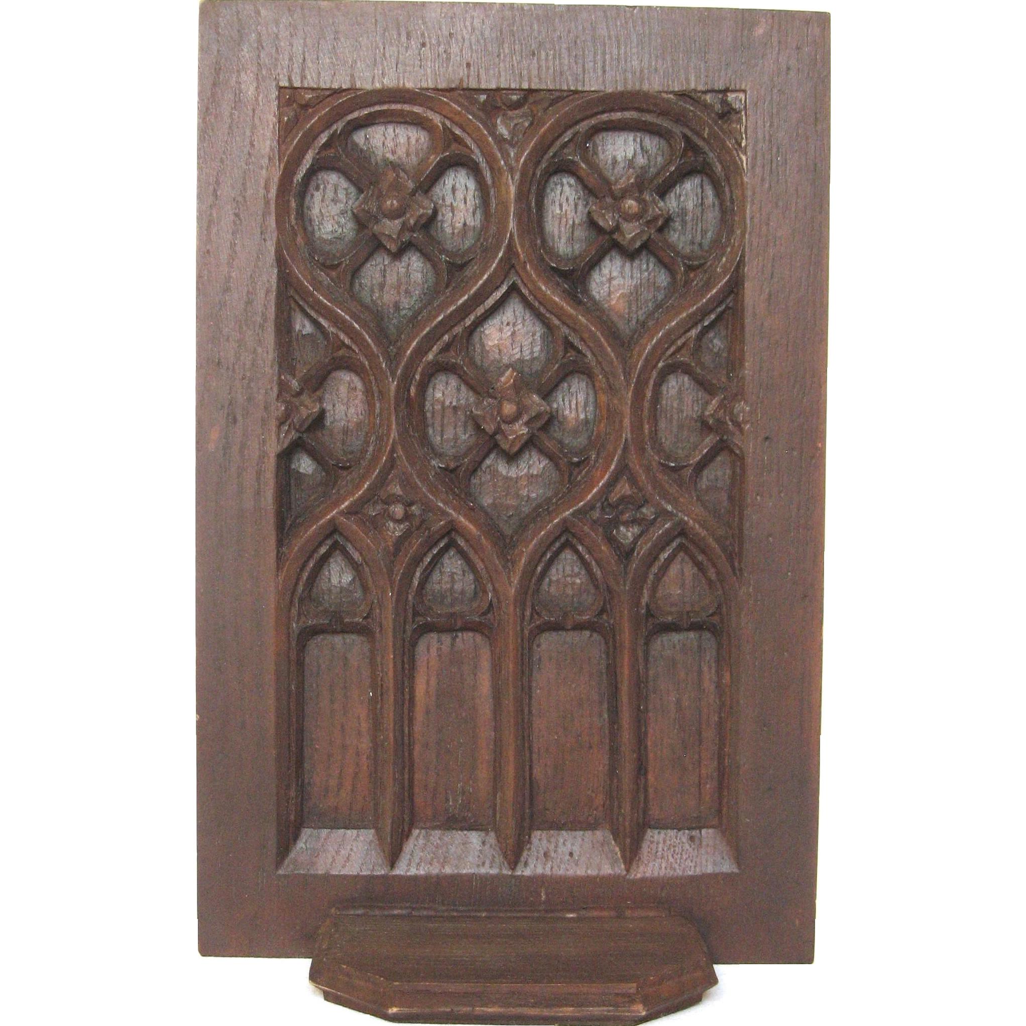 French dark wood gothic carved shelf from yesterdaysfrance