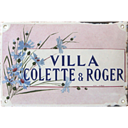 Antique French Enamel House Plaque