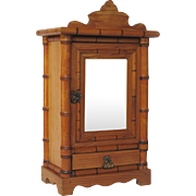 French Faux Bamboo Wooden Doll Armoire with Beveled Mirror