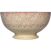 French Ironstone Bowl - Pink Transfer Design