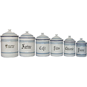 Complete Set of Six Enameled Storage Containers - Graniteware Canister Set