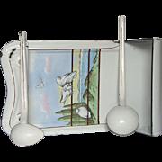 Hand-Painted French Enamel Utensil Rack - Dove Decor