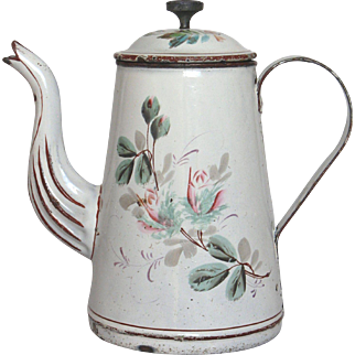 1800s French Hand-Painted Floral Enamelware Coffee Pot