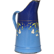 Stunning French Enamel Pitcher - Hand-Painted Floral Decor