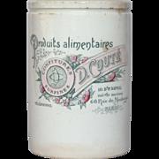 Rare Pink & Green French Jam Crock - Preserve Jar
