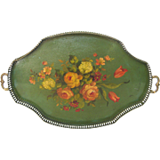 Elegant Late 1800s French Metal Hand-Painted Tray