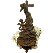 French Cast Iron Cross and Holy Water Font - WW1