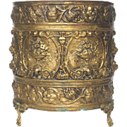 Early 1900s French Brass Embossed Repousse Jardiniere / Planter