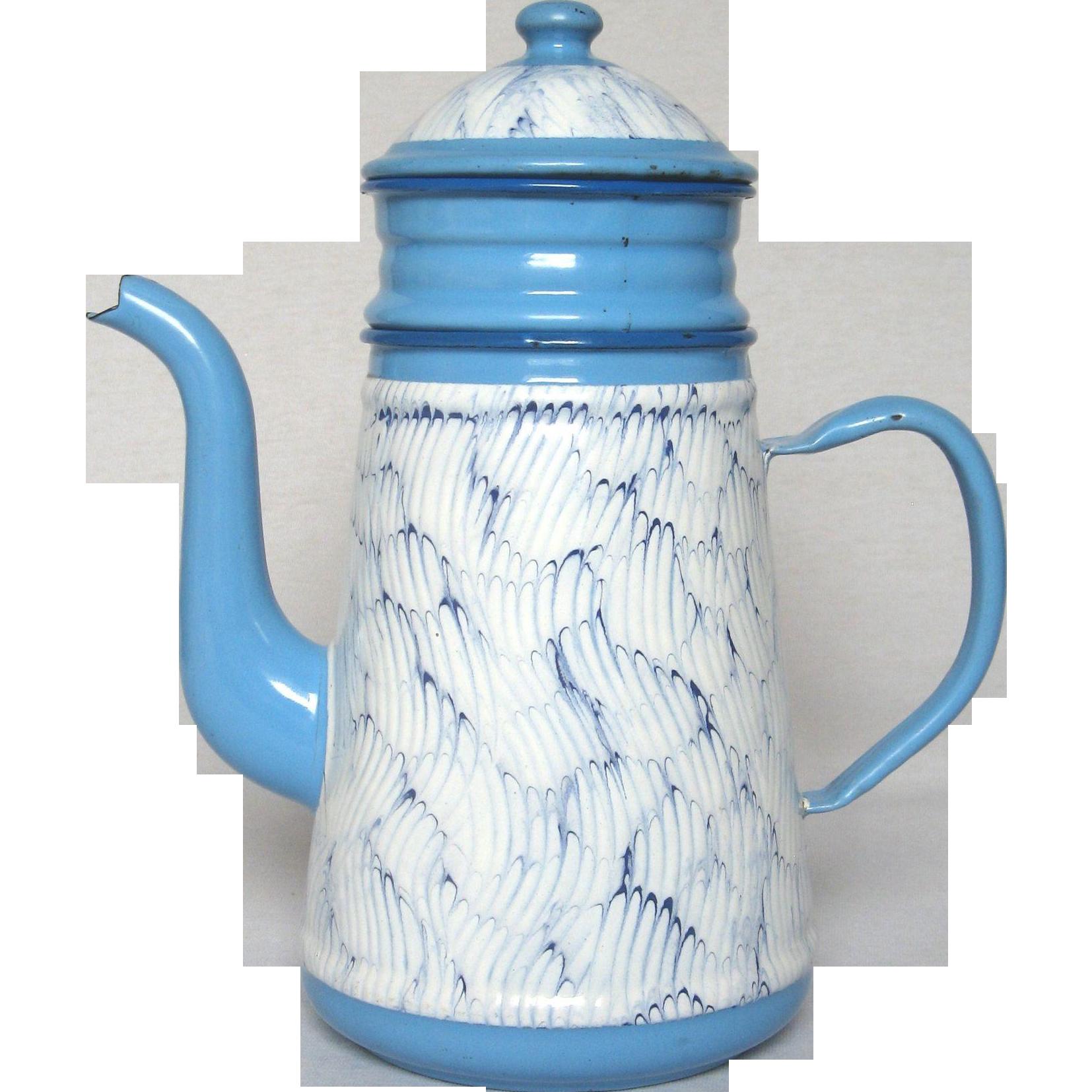 Blue Feathered Enamel French Graniteware Coffee Biggin