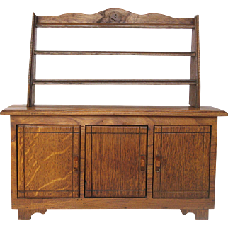 French Hand-Made Doll Buffet - Wooden Hutch - Vaisselier