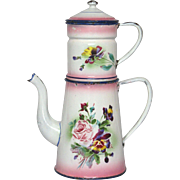Pink Shaded Floral Enamel Graniteware Coffee Pot Biggin - Japy
