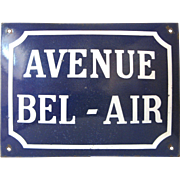 Early French Enamel Street Sign - Avenue BEL-AIR
