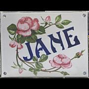 Antique French Enamel Graniteware House Plaque - JANE - Near Mint