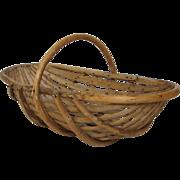 Vintage French Rustic Wooden Gathering Basket