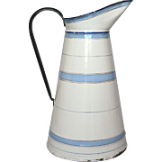 French Enamel Graniteware Body Pitcher - Blue -Banded Decor -early 1900s