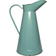 Aqua Green Enamel French Graniteware Pitcher