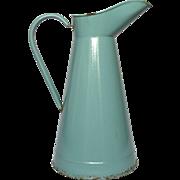 Aqua Green Enamel French Graniteware Pitcher