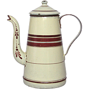 Late 1800's French Enamelware COffee Pot