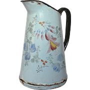 French Enamel Hand-painted Floral Graniteware Pitcher
